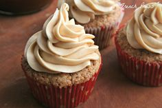 French Press ~ apple spice cupcakes with salted caramel frosting