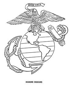 Marine Insigne drawing to print, American flags, bald eagle and The Liberty Bell are a few of the many patriotic coloring pages, pictures and sheets in this section. Marine Corps Symbol, Marine Corps Emblem, Marine Corps Cake, Marine Corps Shirts, Flag Coloring Pages, Adult Coloring Pages, Coloring Books, Coloring Sheets, Patriotic Symbols