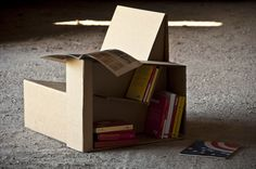 Library chair by Reverse - #ecodesign made with recycled cardboard - microworld