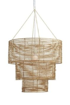 Our casual take on a formal chandelier, we use natural strands of jute twisted and wrapped around a collapsible three tier metal frame. Comes with a UL-approved socket and soft cord single-bulb pendant kit. Dimensions: x x Jute, metal frame Boho Lighting, Chandelier Lighting, Modern Lighting, Country Chandelier, Coastal Chandelier, Industrial Chandelier, Lighting Ideas, Lighting Design, Modern Rustic Chandelier
