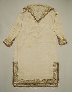 16th Century Italian linen Shirt with silk and metal thread embroider and lace.  Accession Number 10.124.2 MET