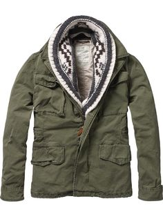 Scotch and Soda l Military Jacket + Shawl Scarf, the scarf details Winter Wear, Fall Winter, Swagg, Military Jacket, Military Men, Military Fashion, Dress To Impress, What To Wear, Style Me