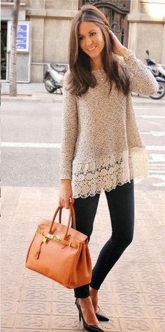 Beige Lace Sweater