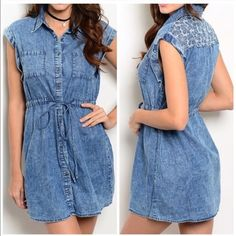 Casual Denim Dress Denim dress with a draw string waist with cuffed sleeves and pocket detailing in the front. Sizes medium Dresses