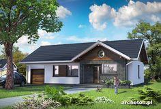 Projekt domu Mikrus - malutki i zgrabny domek parterowy pokryty dachem dwuspadowym beton komórkowy - Archeton.pl