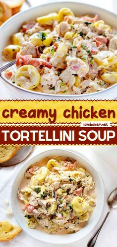 This Creamy Chicken Tortellini Soup is a comfort food recipe packed with flavor and spice! It's a filling and easy dish for the whole family. Save this comfort food for dinner tonight!