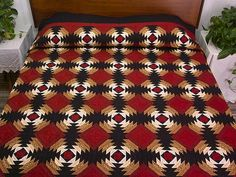 """""""Red Black and Tan Pineapple Log Cabin Quilt Photo 1"""". I like its graphic quality, plus the big quilt show theme this year was Pineapples!"""