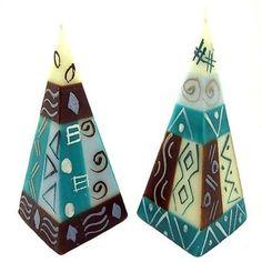 Set of Two Hand-Painted Pyramid Candles - Maji Design - Nobunto
