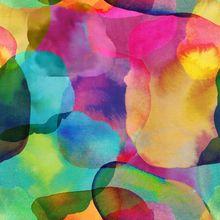 Stoff Meterware Wasserfarben Regenbogen Farbe Abstrakt Bunt
