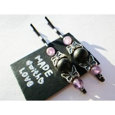 Butterfly- Amethyst- Black Onyx Stone- Protection- Crystal Healing-... ($5.50) via Polyvore featuring accessories, hair accessories, crystal hair accessories, long hair accessories, crystal hair pins, christmas hair accessories and butterfly hair pins