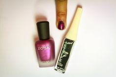 Step 1:  What you'll need:  -Zoya polish in Harlow -Nail art brush -Black striper -Zoya top coat
