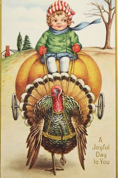 ANTIQUE VINTAGE JOYFUL DAY TO YOU CHILD TURKEY LITHO THANKSGIVING CARD POSTCARD