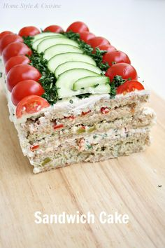 Home Style & Cuisine: Sandwich Cake (бутербродный торт) - Home Style & Cuisine: Sandwich Cake (бутербродный торт) - Sandwhich Cake, Sandwich Loaf, Sandwich Platter, Tea Party Sandwiches, Appetizer Sandwiches, Snacks Für Party, Appetizers For Party, Brunch, Homemade Sandwich Bread