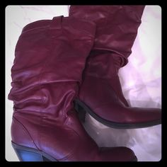 Maroon Boots Size 7.5, brand new. Cupid Shoes Heeled Boots