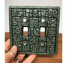 70s Mayan / Aztec Style Light Switch Plate - 1 available - crushed stone in resin