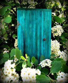 Teal blue fairy garden door by warmweenies.etsy.com
