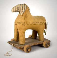 Antique Toy, Pull Toy, Folk Art Horse, American, 19th Century, angle view