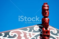 Marae Carving and Sky Royalty Free Stock Photo
