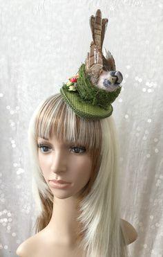 Kentucky Derby Fascinator, Bird Hat, Wedding Fascinator, Nature Fascinator, Mushroom hat, Alice in Wonderland Hat, Royal Ascot