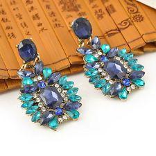 WWS Lady Blue Crystal Ear Stud Earring Gift Jewelry New Hot Sale