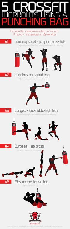 5 crossfit workouts using a punching bag by Punchingbag.info