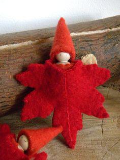 Maple Leaf Gnome Waldorf Wool Gnome Fall Autumn by MamaWestWind