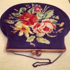 Vintage tapestry clutch with filigree knobs by Tillyvillevintage