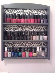 old spice rack + scrapbook paper or vintage wallpaper + Mod podge= nail polish storage
