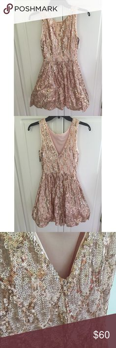B DARLIN Rose Gold Sequin Dress Gorgeous rose gold sequin dress B Darlin Dresses Midi