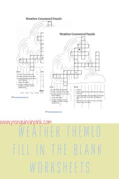 This FREE Printable Weather Themed Crossword Puzzle is an easy way to help kids review their weather knowledge or learn something new. The crossword puzzle is available either with a word bank or without one. An answer key is also included. Free Printable Crossword Puzzles, Free Printables, Science Resources, Help Kids, Kids Education, Book Lists, Penguins, Homeschool, Knowledge