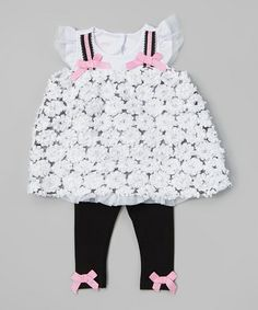 Love this White Rosette Tunic & Black Leggings - Infant on #zulily! #zulilyfinds
