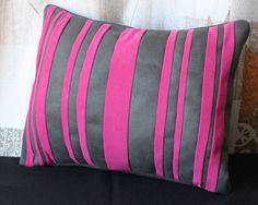 soft suede hot pink & dark gray decorative pillow