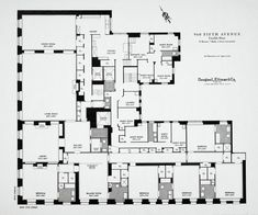 Floorplan of a typical appartment, 960 Fifth Avenue, New York     Seven maid's rooms... SEVEN!