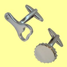 Bassin and Brown Cufflinks Collection - Silver Bottle Opener and Cap Cufflinks