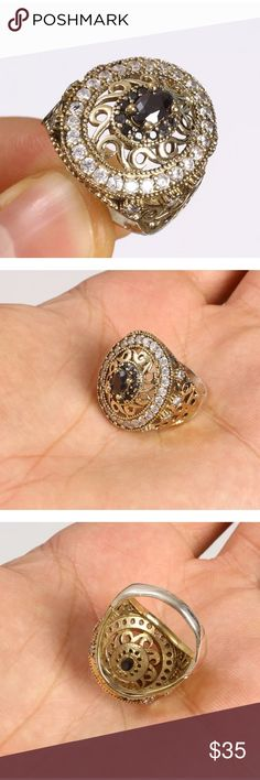 """Turkish hurrem HANDMADE TOPAZ ONYX 925 SILVER RING OTTOMAN HANDMADE TOPAZ ONYX .925 SILVER & BRONZE RING SIZE 8.5 #50611 Material is .925 Sterling Silver and Bronze. The stones are TOPAZ, ONYX. This Ring is 8 grams. Head size is 0,75"""". Ring Size is 8.5 All our silver items have the 925 stamp. ***All our items are made in EUROPE with high quality workmanship***  Visit our other auctions for great deals Jewelry Rings"""