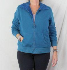LL Bean Jacket XL size Womens Blue Faux Fur Lined Zip Cotton Blnd Casual Comfort
