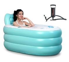 Great for RVers who simply must have a bath now and again. Pixnor New Fashion Adult SPA Inflatable Bath Tub with Air Pump (Blue Large + Hand pump) Pixnor®