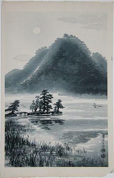 KOTOZUKA Eiichi(琴塚 英一 Japanese, 1906-1976)  Hirosawa Pond in the spring evening 1950s  Woodblock print