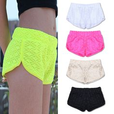 5910 Hot Sale 2015 Women Pants Spring Summer Fashion Shorts Pants Sweats Hollow Out Candy Color Lace Pants Shorts - women's fashion Neon Shorts, Bermudas Fashion, Fashion Shorts, Mode Shorts, Sport Outfits, Summer Outfits, Boys Wearing Skirts, Lace Pants, Short Women Fashion