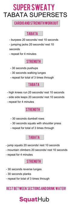 Put your sweat on auto-pilot with these Tabata supersets. Your heart rate will raise, the extra body fat will melt and you'll significantly increase your strength. What else do you need from a workout? 15 Minute Hiit Workout, Workout Circuit, Hitt Workout, Tabata Workouts, At Home Workouts, Strength And Conditioning Workouts, Strength Workout, Plyometrics, Calisthenics