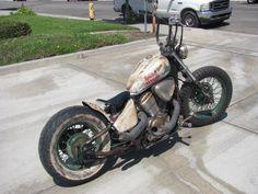 hannahnoah uploaded this image to 'Sinclair bike'. See the album on Photobucket. Honda Bobber, Honda Shadow Bobber, Bobber Bikes, 600 Honda, Rat Rod Motorcycle, Rat Rod Girls, Car Girls, Old School Chopper, Bobber Chopper