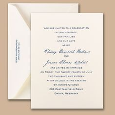 Simple elegant invitations in ecru are ideal for showcasing your wording.   * paper weight - quality 100# text * Includes FREE blank double envelopes * Enclosures sold separately