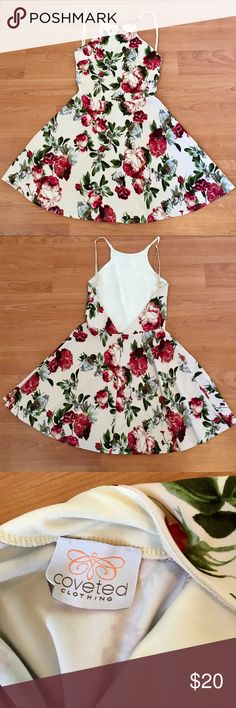 Halter Style Low Back A-Line Floral Dress Size XS Super cute and stylish dress, worn only once. Perfect for a 21st birthday party or a night on the town with your girls. The straps are adjustable! Coveted Clothing Dresses Mini