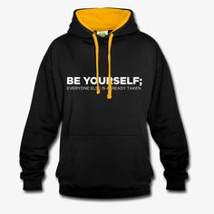 Unisex hoodie with contrasting hoodie colour and cord. Brand: AWDis Just Hoods color black/gold size L gender unisex age gr. Cool T Shirts, Casual Shirts, Cool Shirt Designs, How To Speak Korean, Colorful Hoodies, Unisex, Custom Clothes, Black Hoodie, Black Gold