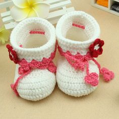 white lovely baby shoes handmade Crochet Baby Booties by rosetan, $10.99