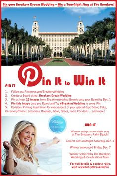 Want to win a two-night stay at The Breakers? Join our PIN It to WIN It contest! #BreakersWedding
