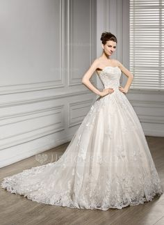 A-Line/Princess Sweetheart Court Train Tulle Lace Wedding Dress (002056610) $285