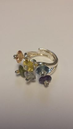 Sterling Silver .925 Ring With Colored Crystals by TheGoldenLoot