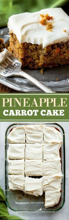 The best carrot cake recipe is this pineapple carrot cake with cream cheese frosting! Moist, spiced, and so easy! Easter dessert on sallysbakingaddiction.com