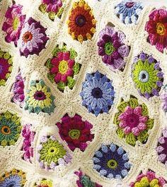Free Crochet Afghan Patterns Awesome Free Crochet Rose Afghan Pattern Crochet — Learn How to - Granny Point Granny Au Crochet, Granny Square Crochet Pattern, Crochet Squares, Beau Crochet, Love Crochet, Crochet Flowers, Crochet Blanket Flower, Crochet Daisy, Beautiful Crochet